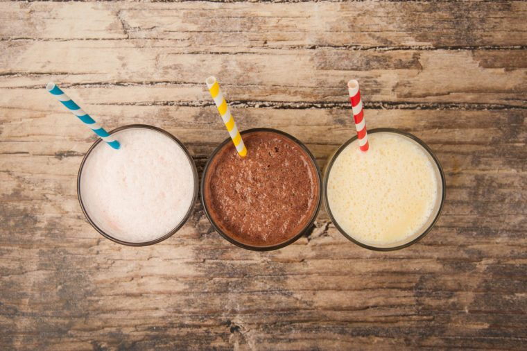 Three flavors of milkshakes—vanilla, chocolate and banana