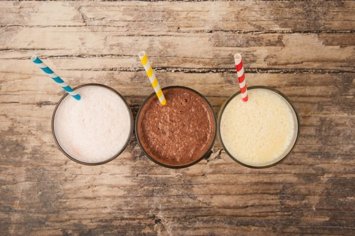 Three flavors of milkshakes—vanilla, chocolate and banana