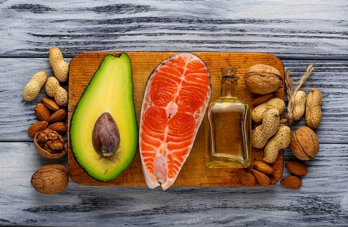 Healthy fat salmon, avocado, oil, nuts