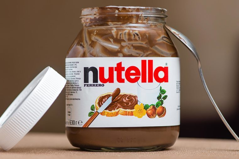 Jar of Nutella Hazelnut on a bokeh background