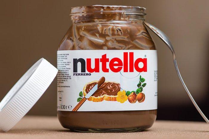 Jar of Nutella Hazelnut on a bokeh background