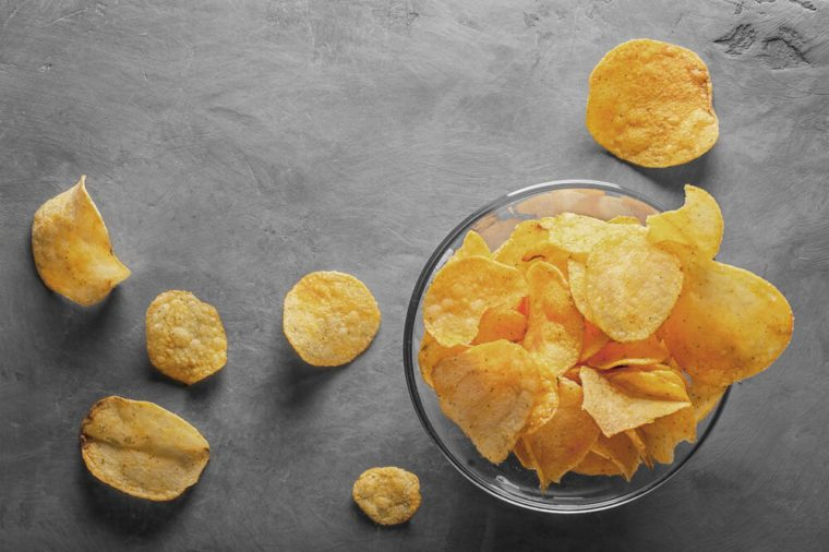 glass bowl of potato chips