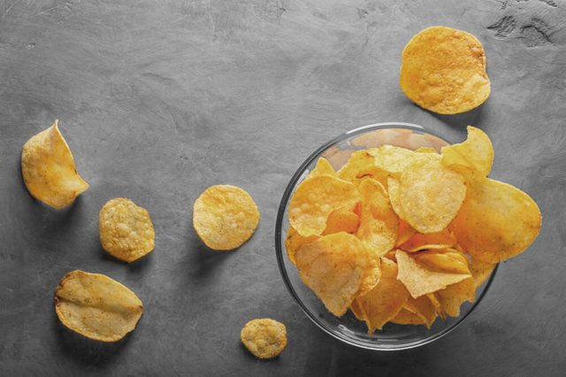 glass bowl of potato chips