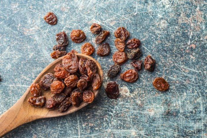 wooden spoon with raisins