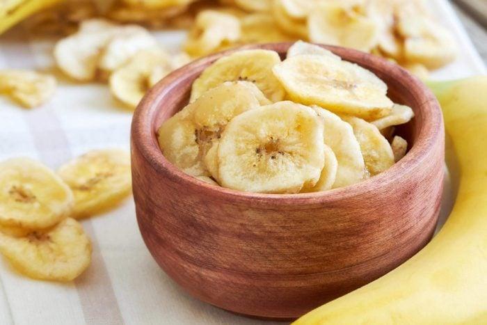 Bowl of dried banana chips