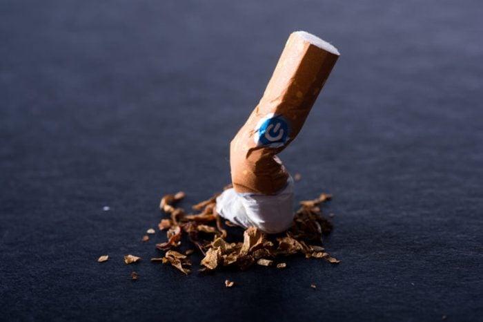 A stubbed out cigarette.