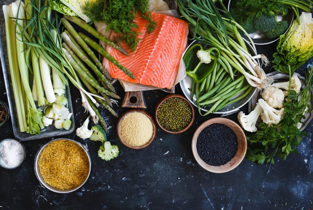 salmon, grains, and vegetables