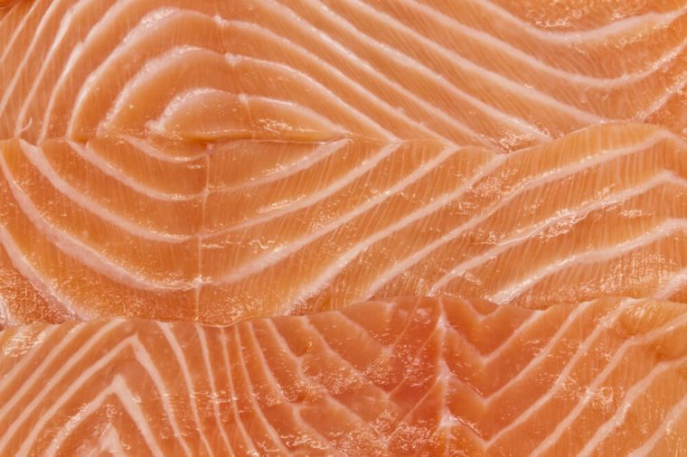 Close-up salmon fillets.