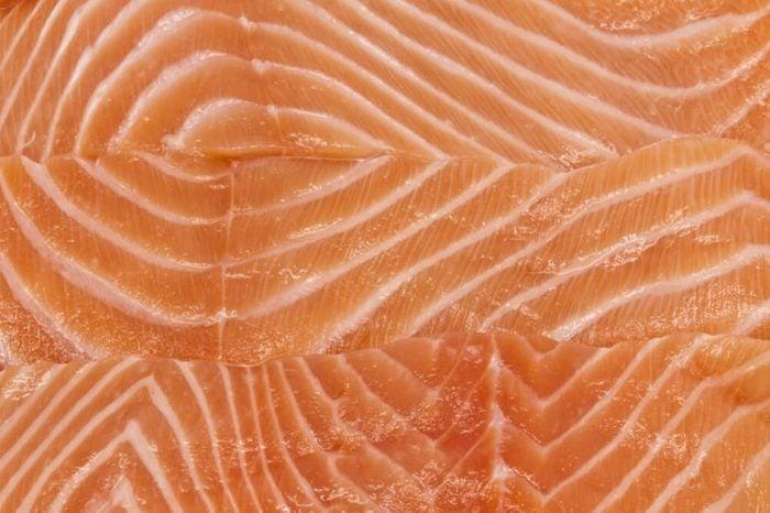 Close-up salmon fillets.