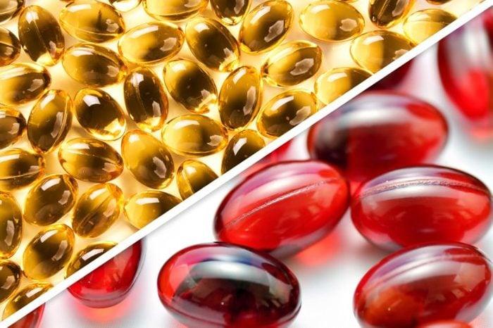 oil capsules next to red capsules