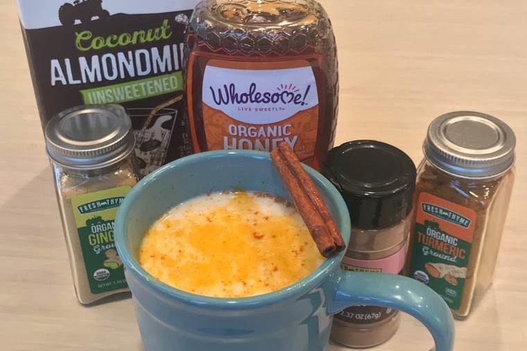 ingredients for golden milk latte