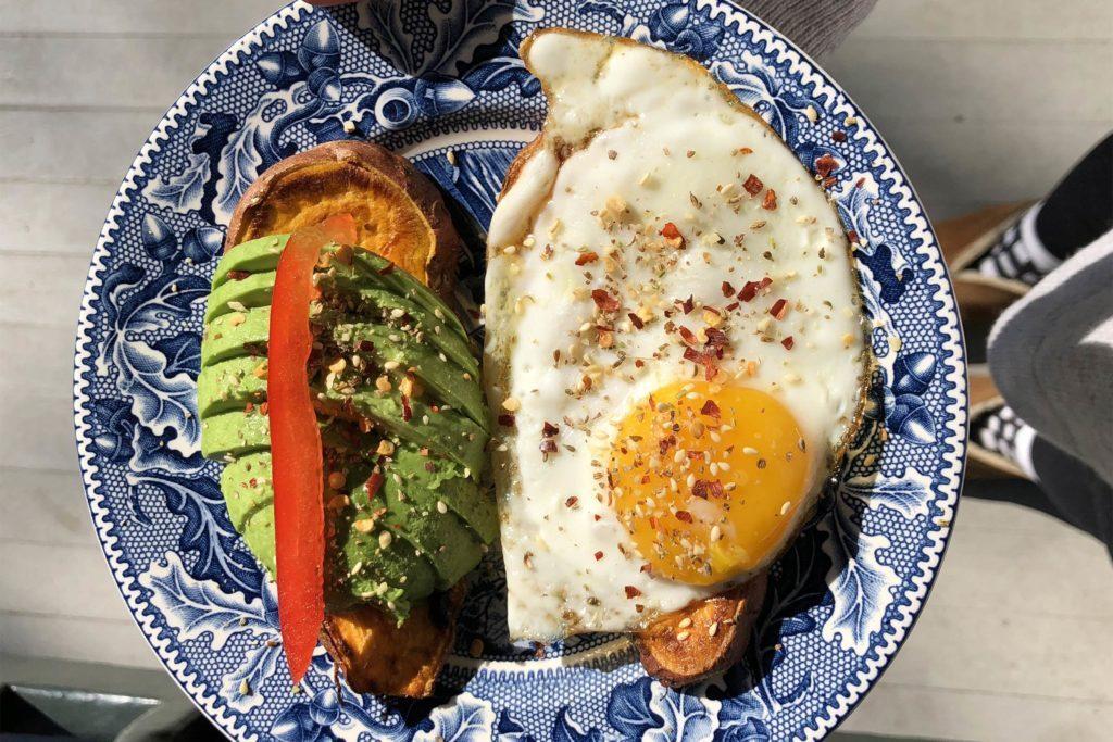 sweet potato avocado eggs toast