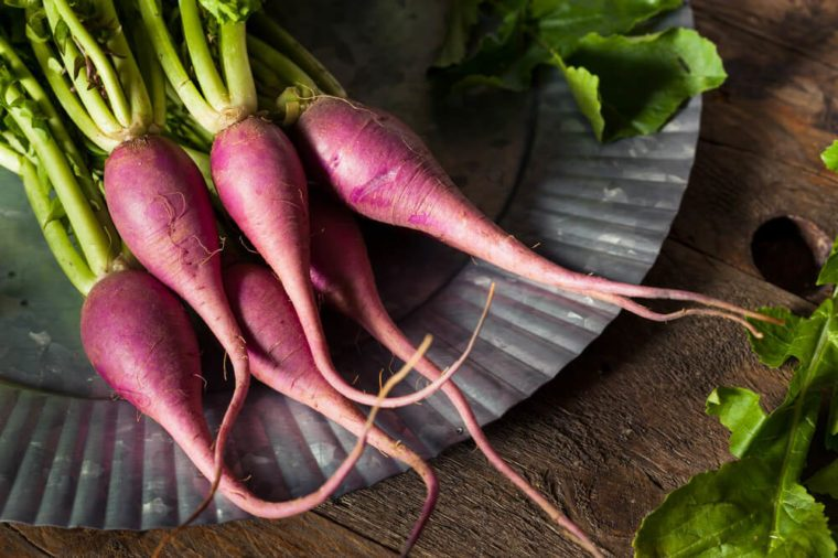 Raw Organic Purple Radishes Ready to Eat