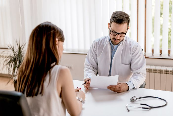 Doctor and patient discussing results