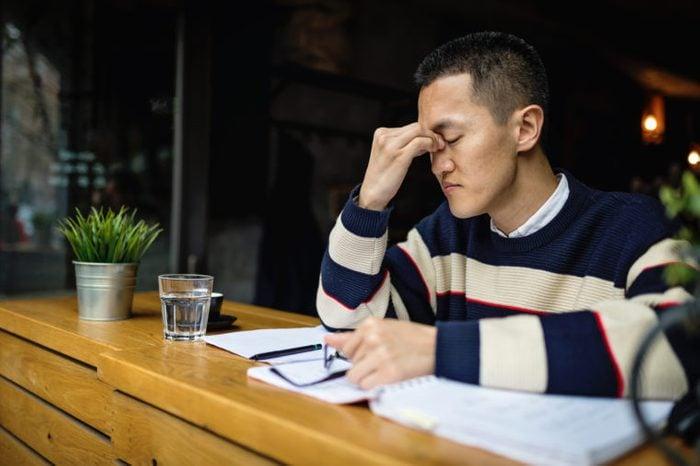 tired man working