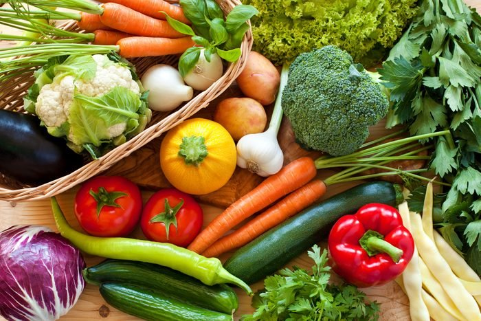 raw healthy fruits and vegetables