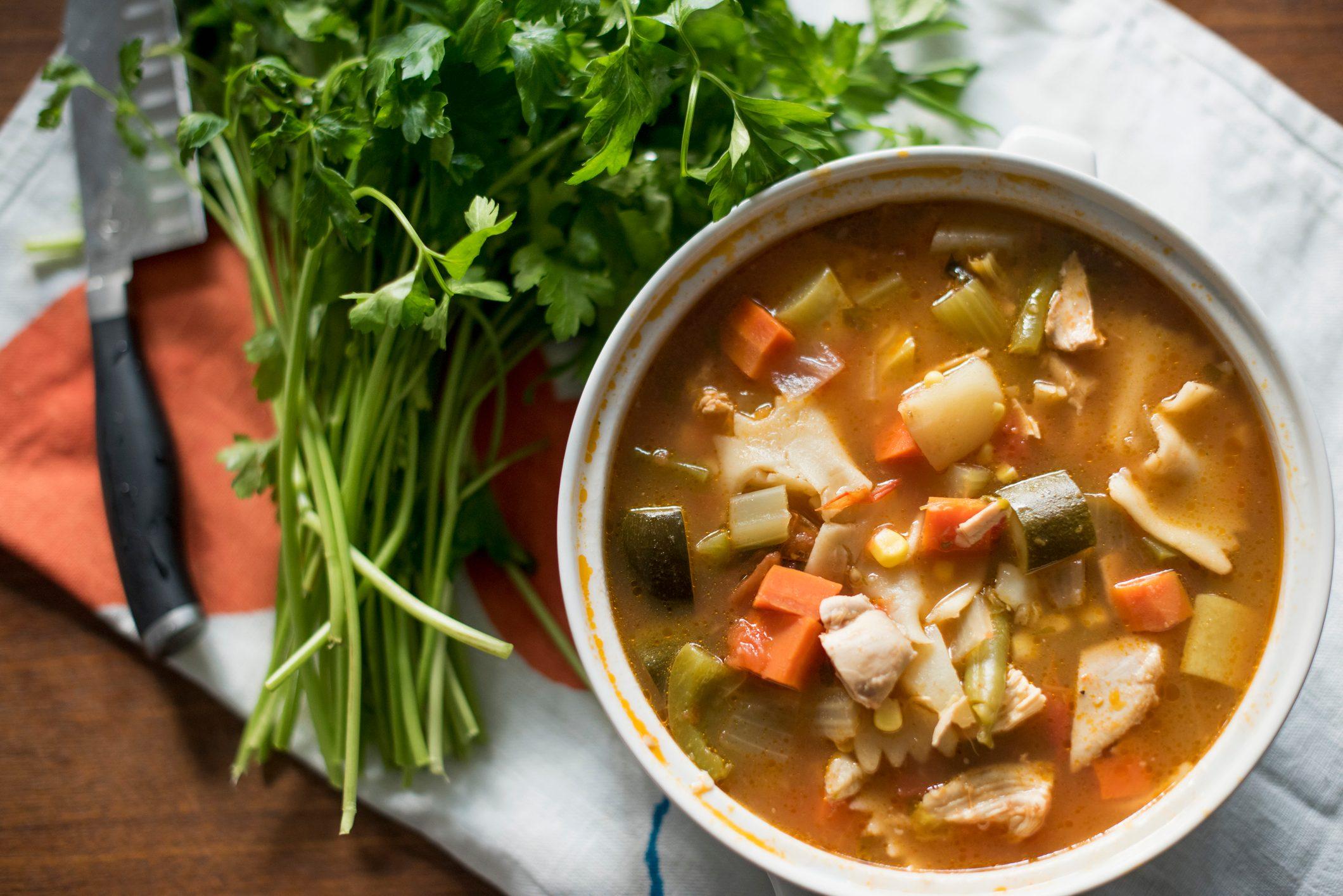 vegetable soup overhead