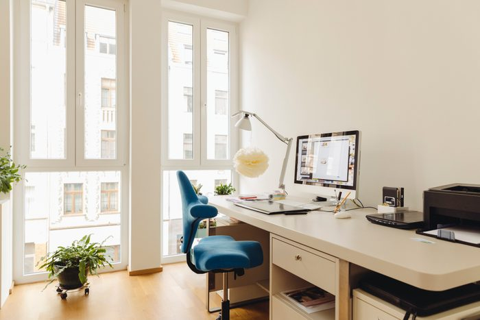 home office work space with desk, computer, and chair