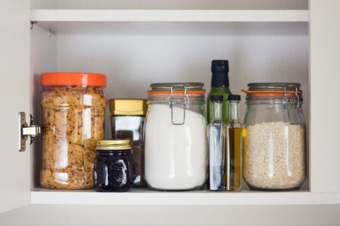 kitchen containers in cabinet