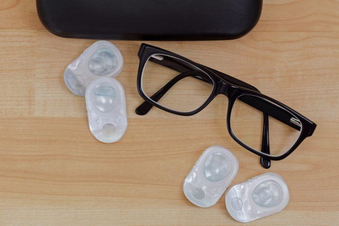 eye glasses and contacts overhead