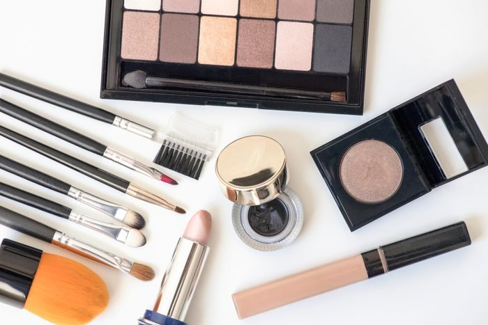 overhead shot of makeup products