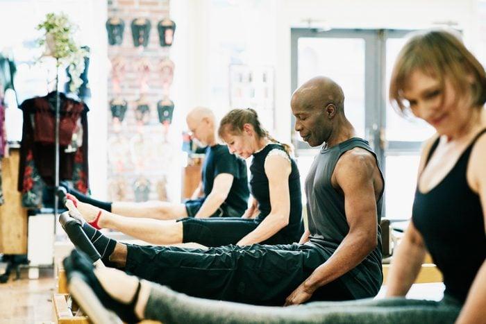 pilates class doing exercises