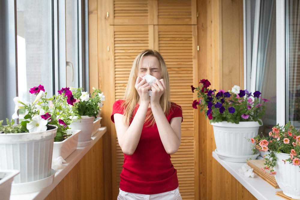 Allergy to flowering. A young girl sneezes. Irritation
