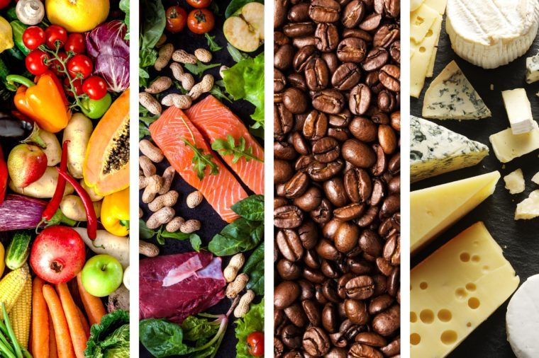 Fruits and vegetables, salmon, coffee beans, and cheeses.