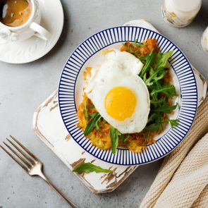 Fried egg with potato pancake, arugula and avocado on ceramic plate for breakfast on gray old concrete background. Selective focus. Top view. Copy space.