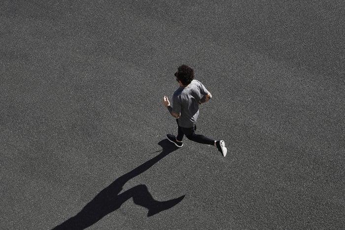 Top view athlete runner training
