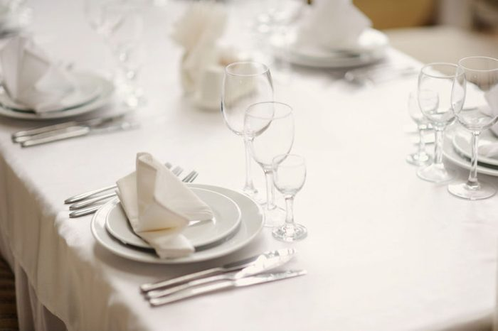 Table set with salad plates