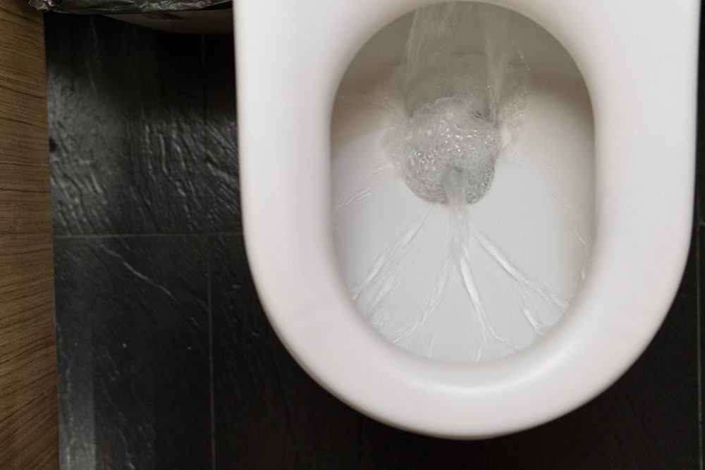 water in toilet bowl flushing
