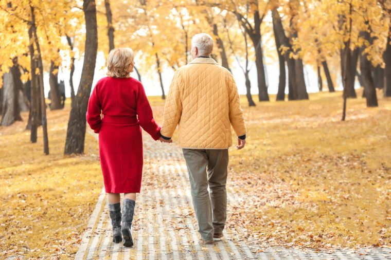 Elderly couple walking in park on autumn day