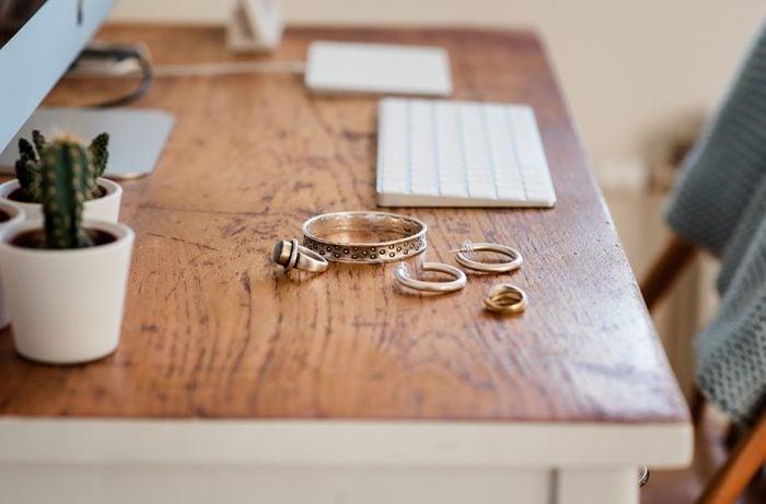 jewelry on wooden desk