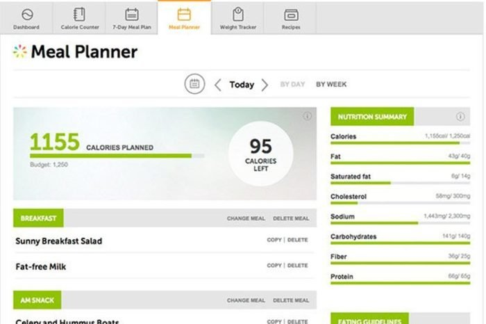 Meal planning page for Everyday Health