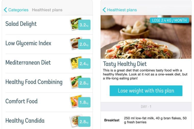 Meal planning page for Diet Point Weight Loss