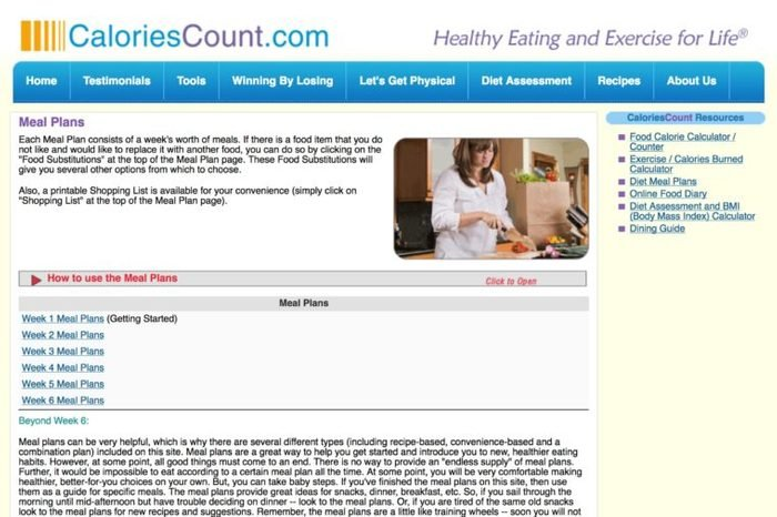 Meal planning page for CaloriesCount.com