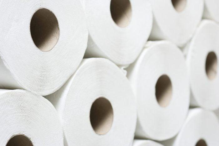 stack of toilet paper rolls