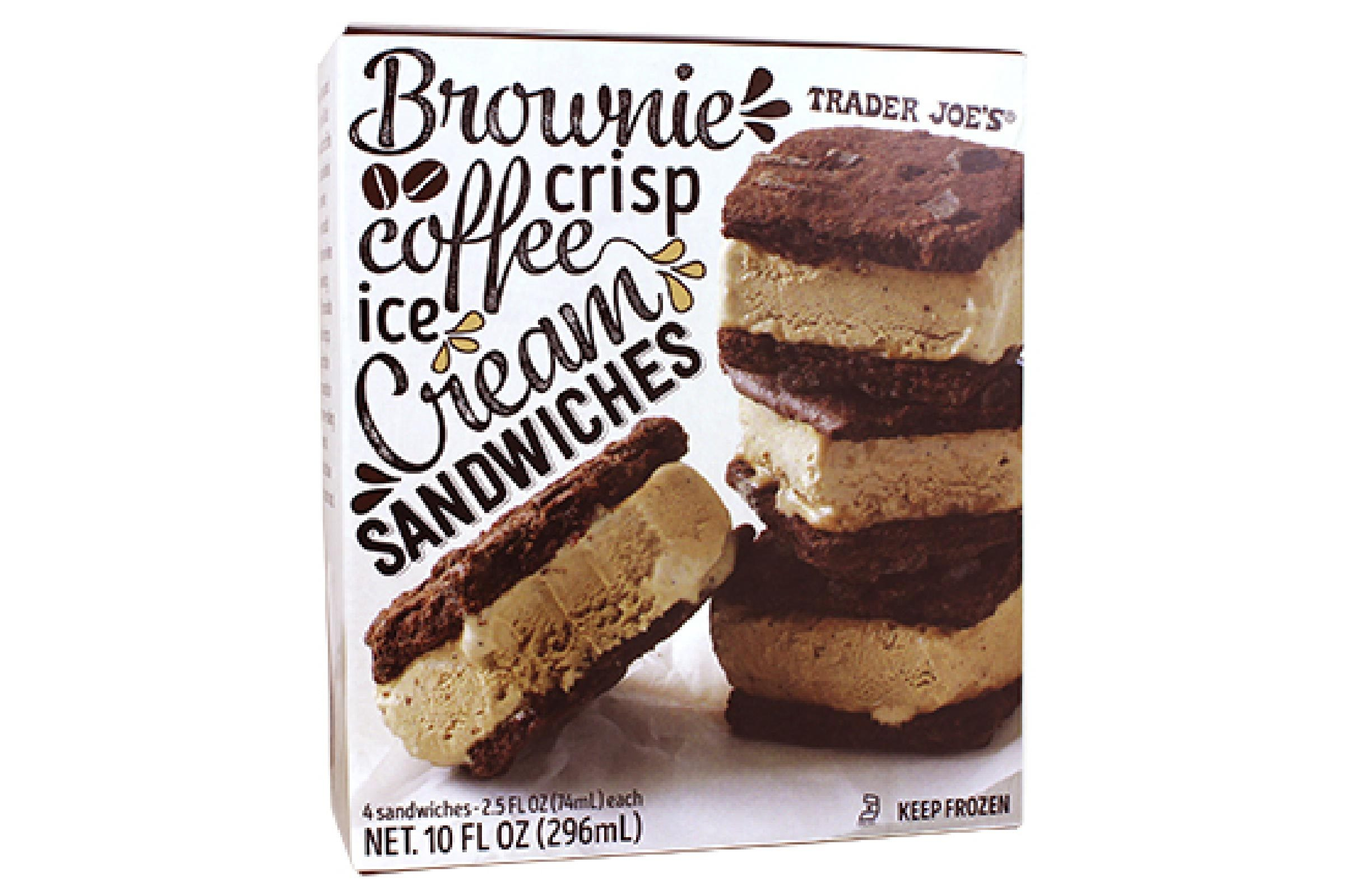Brownie Crisp Coffee Ice Cream Sandwiches