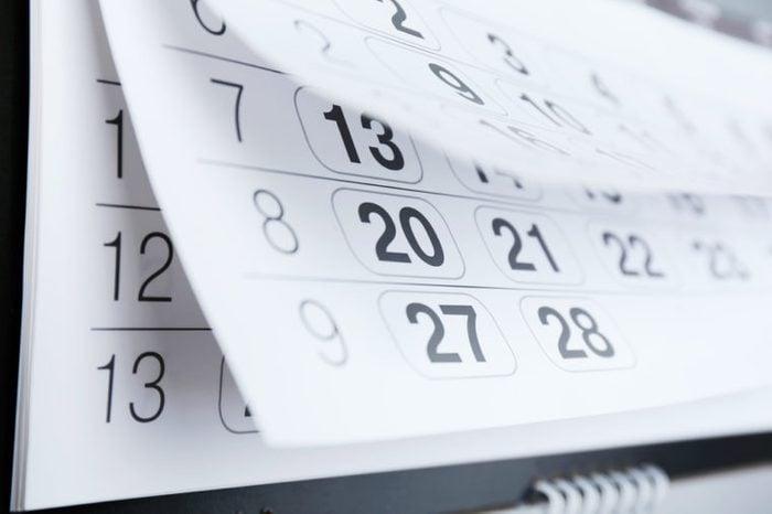 Closeup of calendar page