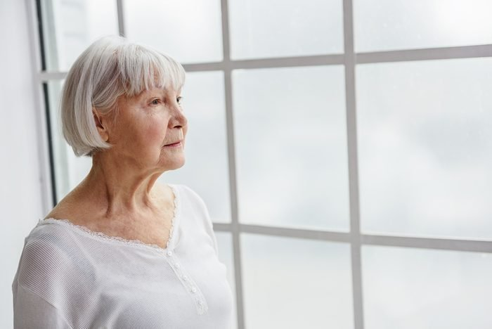 Thoughtful retiree looking what going on