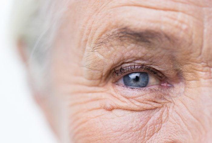 closeup of older woman's eye