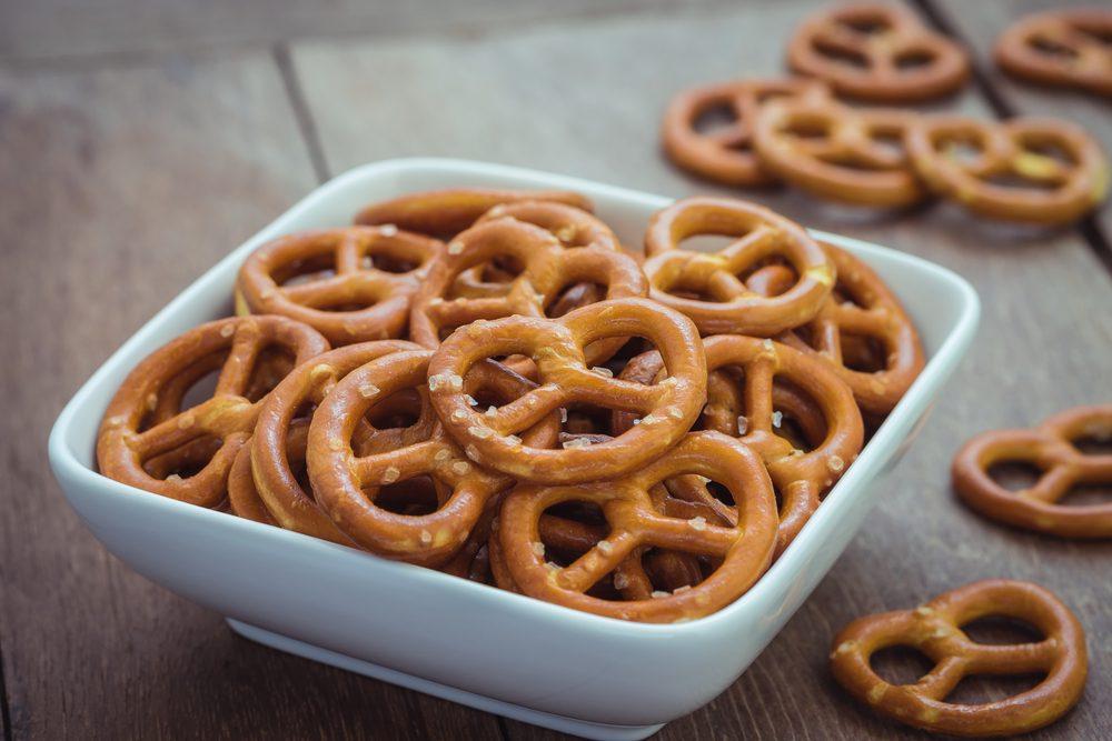 Salted pretzels in bowl
