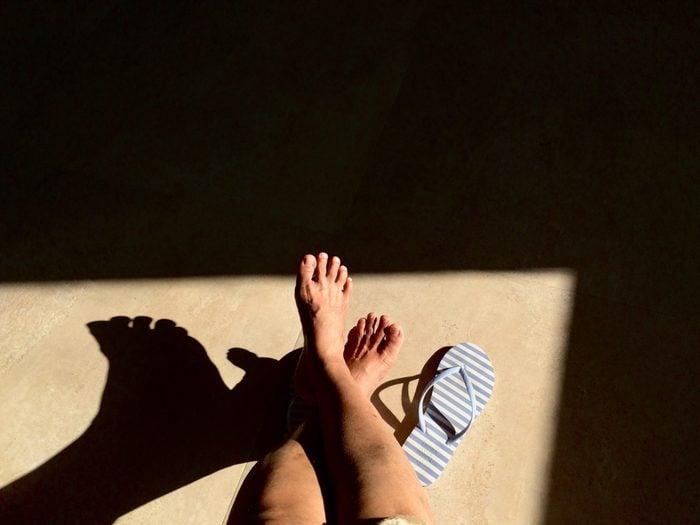 feet and flip flops overhead