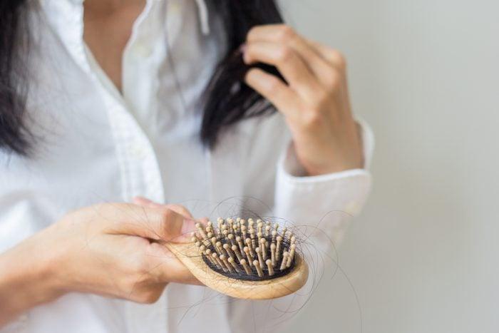 close up of hair brush