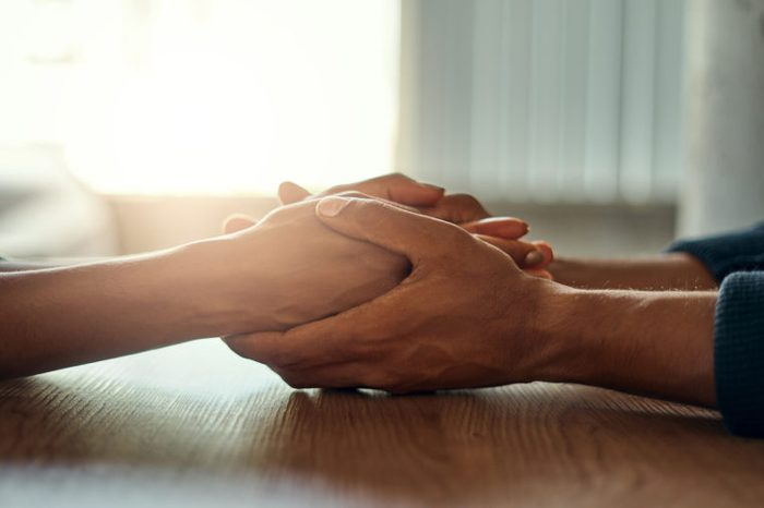 close up of hands holding