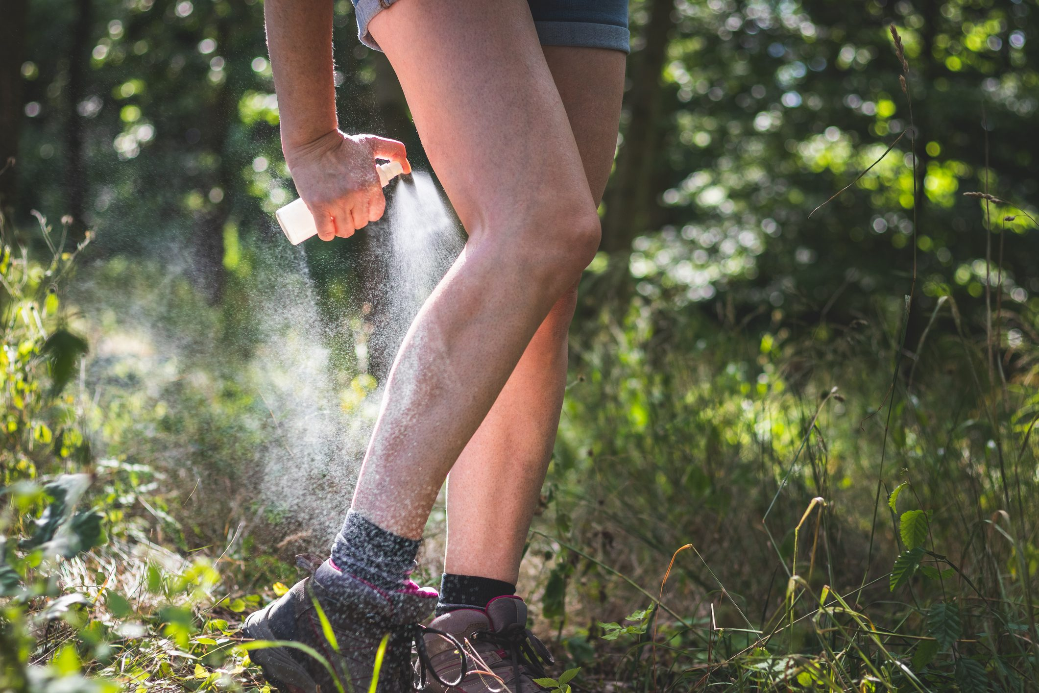 cropped shot of woman spraying bug spray on legs