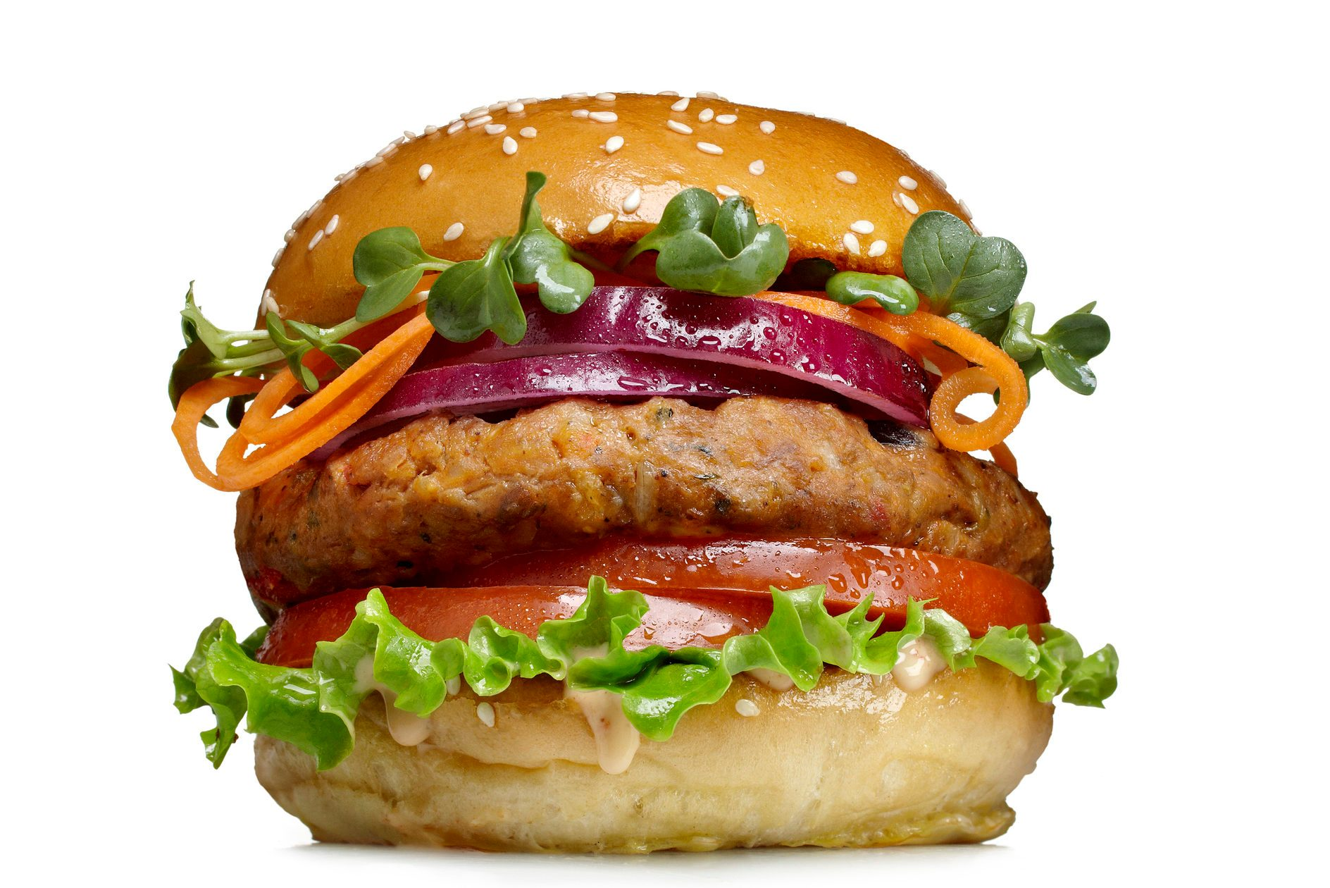 veggie burger on white background