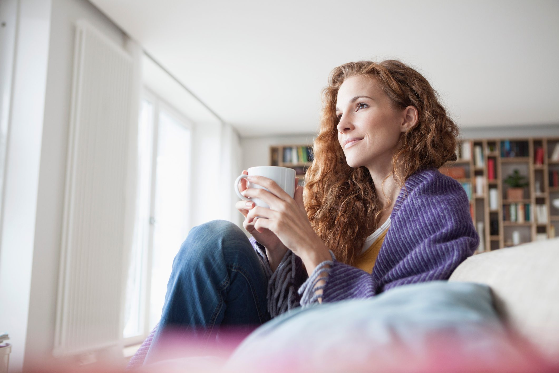 woman sitting at home relaxing