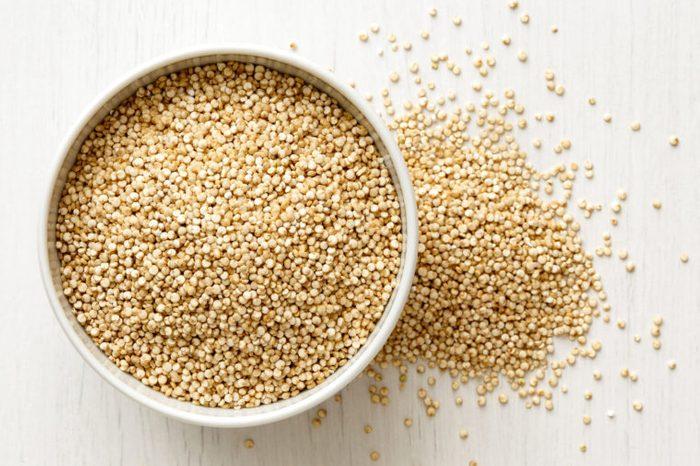 quinoa in a bowl overhead
